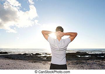 tenger, kézbesít, ember, fej, külső mögött