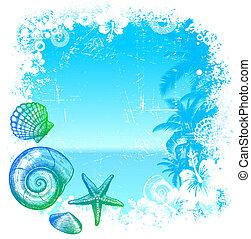 tenger, lakosok, -, ábra, kéz, tropikus, vektor, háttér, húzott