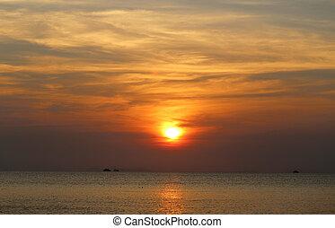 tenger, napnyugta, gyönyörű