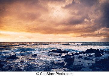 tenger, napnyugta, megrohamoz, óceán