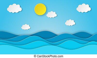 tenger, sky., világos, kilátás