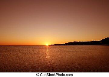 tenger, tengertől távol eső, óceán víz, napnyugta, horizont