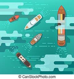 tenger, tető, hajózás, óceán víz, vektor, ábra, felszín, hajó, csónakázik, kilátás