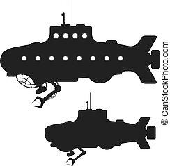 tengeralattjáró, körvonal, állhatatos, fekete