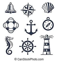 tengeri, állhatatos, tengeri, ikonok