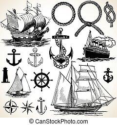 tengeri, ikon, állhatatos