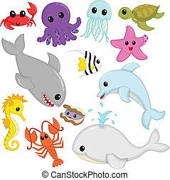 tengeri, kicsapongó élet, állatok