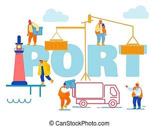 tengeri kikötő, rév, tároló, lighthouse., hajózás, hord, vektor, tenger, dobozok, munkaszervezési, transzparens, karikatúra, csereüzlet, összekapcsol, munkás, concept., berakodás, brochure., poszter, repülő, kikötő, ábra, lakás, daru