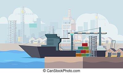 tengeri kikötő, tengeri, tároló, docks., csónakázik, berakodás, háttér, hajó, vektor, rakomány