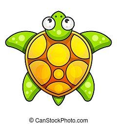 tengeri teknős, ábra, vektor, háttér, icon., fehér