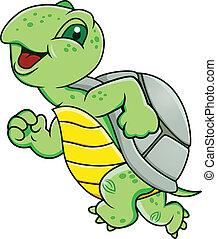 tengeri teknős, futás