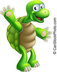 tengeri teknős, hullámzás, teknősbéka, vagy, karikatúra