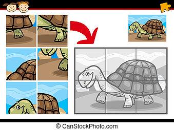 tengeri teknős, rejtvény, lombfűrész, játék, karikatúra