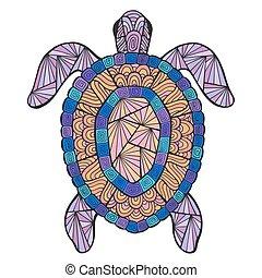 tengeri teknős, stilizált, vektor, pattern., etnikai