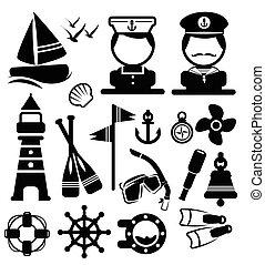 tengeri, vektor, állhatatos, ikonok