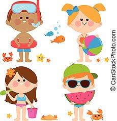 tengerpart., ábra, női fürdőruha, vektor, gyűjtés, játék, gyerekek