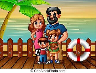 tengerpart, ábra, szünidő, család