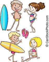 tengerpart, élvez, gyerekek, skicc