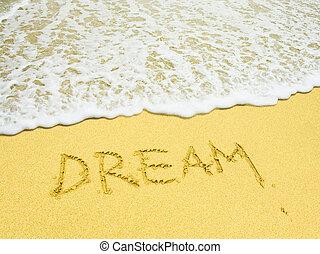 tengerpart, írott szó, álmodik, homokos