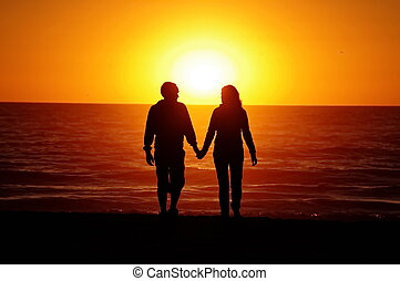 tengerpart, összekapcsol naplemente, szerető