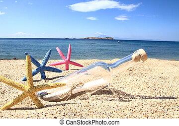 tengerpart, belső, mosakszik, palack, üzenet
