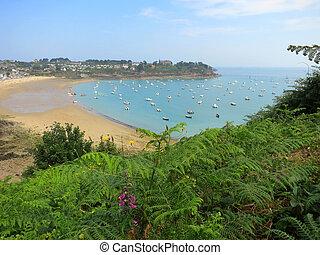 tengerpart, brittany, reggel, jacht, franciaország
