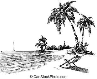 tengerpart, ceruza, nyár, rajz