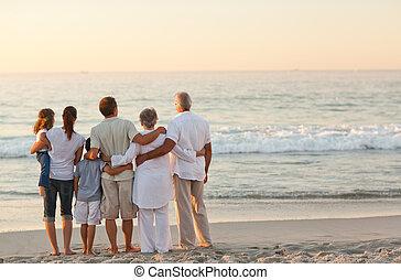 tengerpart, család, gyönyörű