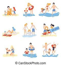 tengerpart, család, nyár, birtoklás, szünidő, ábra, játék, -eik, vektor, szülők, móka, tengerpart, élvez, gyerekek, boldog