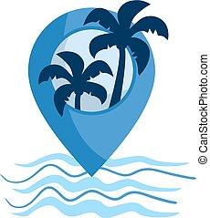 tengerpart, elhelyezés, ikon