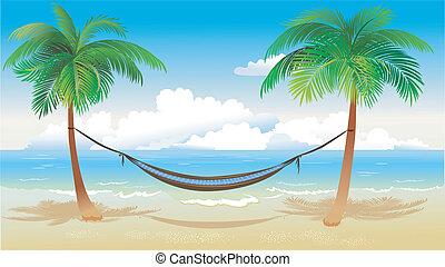 tengerpart, függőágy, pálma fa