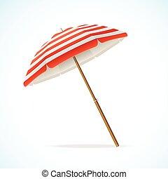 tengerpart, fehér, vektor, esernyő, piros