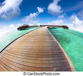 tengerpart, fish-eye, gyönyörű, nyaraló, maldívok, lencse, víz