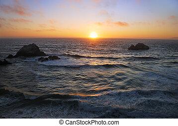 tengerpart, francisco, napnyugta, szanatórium, óceán