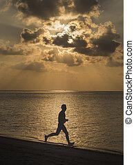 tengerpart, futás