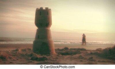tengerpart, gyalogló, (1002), párosít, hajnalodik
