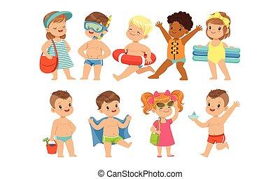 tengerpart, gyerekek, móka, vektor, úszás, szünidő, ábra, boldog, játék, nyár, csinos, birtoklás
