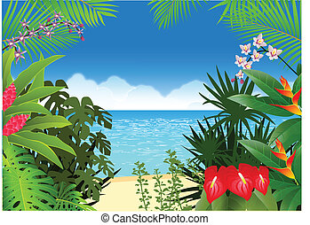 tengerpart, háttér, tropikus