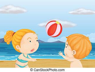 tengerpart, játék röplabda, gyerekek