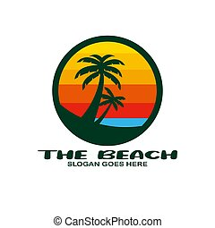 tengerpart, jel, tervezés, vektor