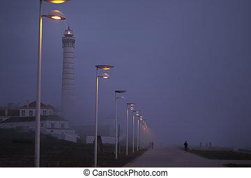 tengerpart, ködös, éjszaka