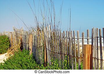 tengerpart, kerítés, öreg