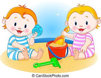 tengerpart, kisbabák