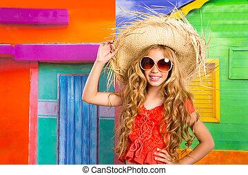 tengerpart, leány, boldog, természetjáró, kalap, szőke, napszemüveg, gyerekek
