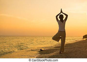 tengerpart, leány, előadó, napnyugta, jóga, árnykép