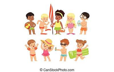 tengerpart, móka, vektor, úszás, szünidő, ábra, lány, boldog, játék, nyár, fiú, csinos, birtoklás