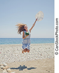 tengerpart, nő, ugrás, boldog