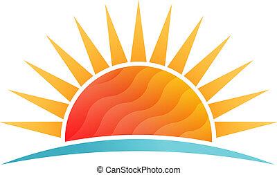 tengerpart, nap, poly, vektor, alacsony, jel, csillogó