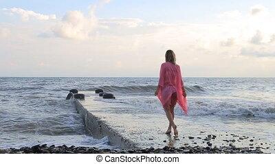 tengerpart, napnyugta, gyalogló, nő, summer.