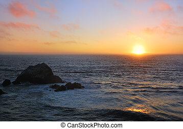 tengerpart, napnyugta, szanatórium, óceán, francisco
